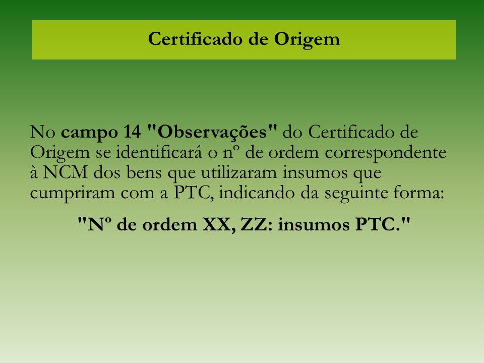 Certificado de Origem No campo 14
