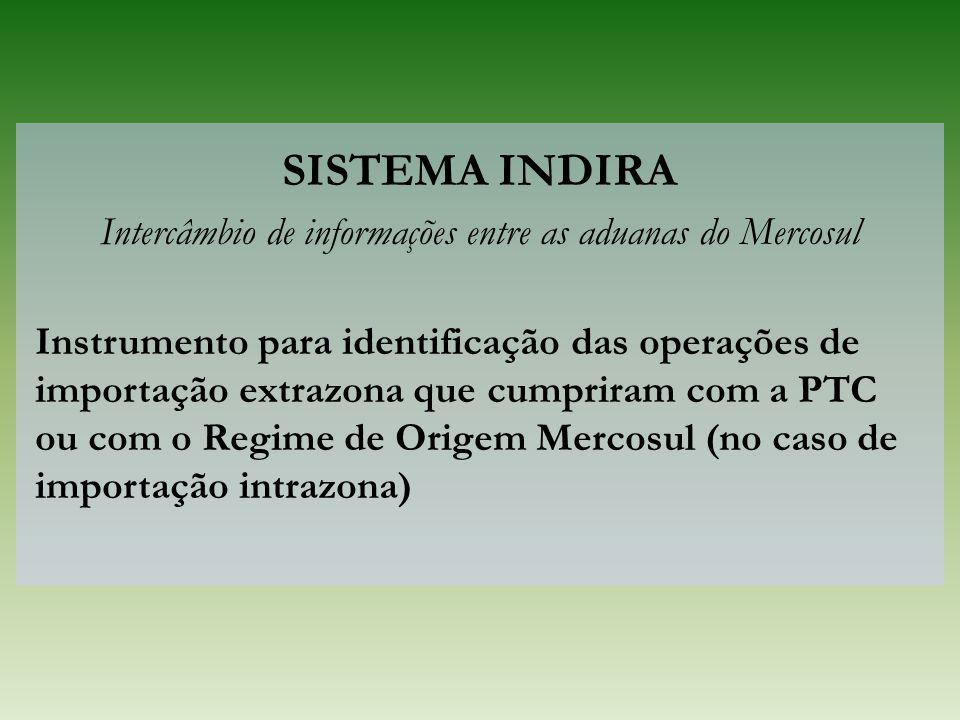 SISTEMA INDIRA Intercâmbio de informações entre as aduanas do Mercosul Instrumento para identificação das operações de importação extrazona que cumpri