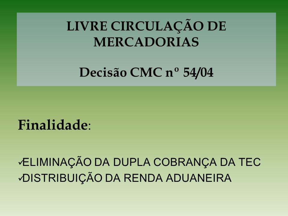 LIVRE CIRCULAÇÃO DE MERCADORIAS Decisão CMC nº 54/04 Finalidade : ELIMINAÇÃO DA DUPLA COBRANÇA DA TEC DISTRIBUIÇÃO DA RENDA ADUANEIRA