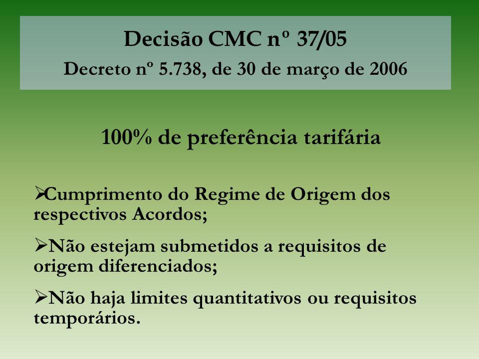 Decisão CMC nº 37/05 Decreto nº 5.738, de 30 de março de 2006 100% de preferência tarifária  Cumprimento do Regime de Origem dos respectivos Acordos;