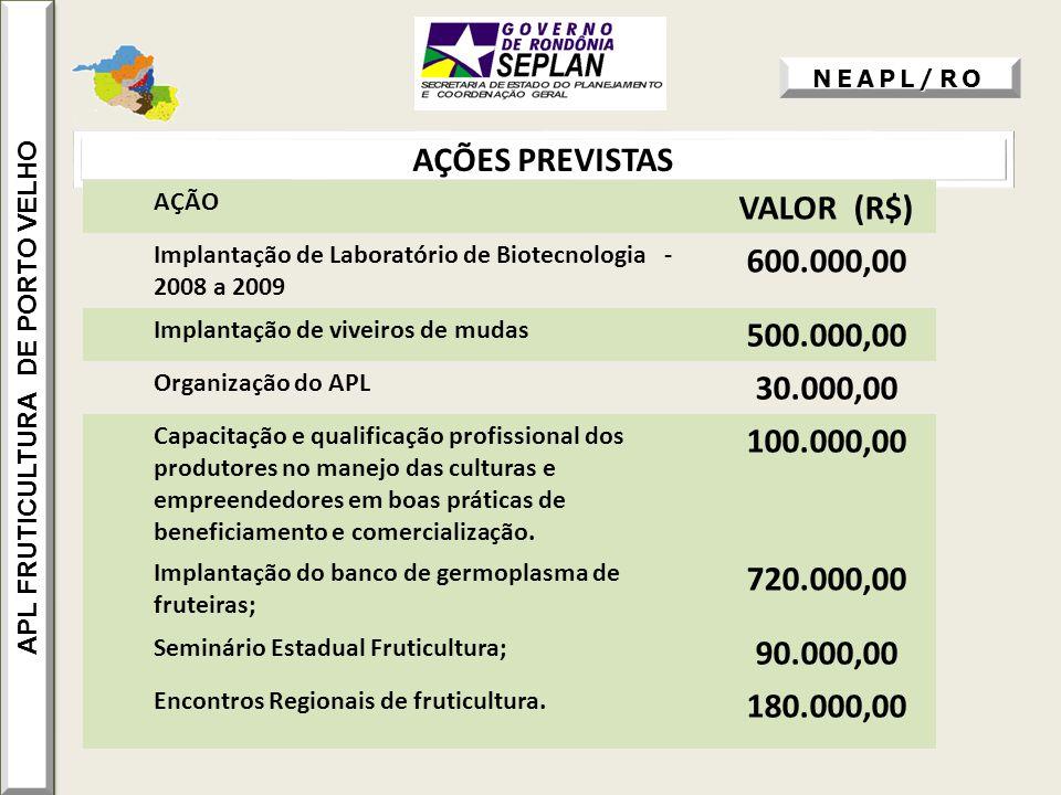 AÇÕES PREVISTAS APL FRUTICULTURA DE PORTO VELHO AÇÃO VALOR (R$) Implantação de Laboratório de Biotecnologia - 2008 a 2009 600.000,00 Implantação de vi