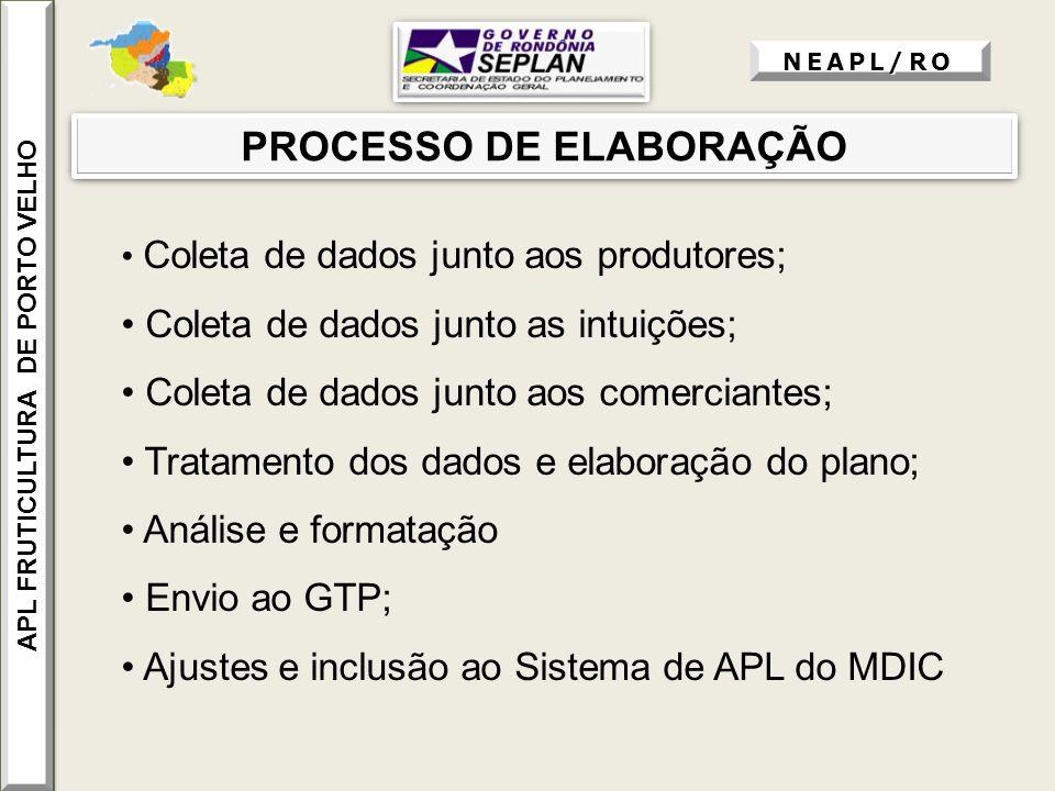 PROCESSO DE ELABORAÇÃO Coleta de dados junto aos produtores; Coleta de dados junto as intuições; Coleta de dados junto aos comerciantes; Tratamento do