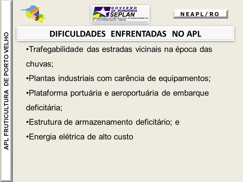 DIFICULDADES ENFRENTADAS NO APL Trafegabilidade das estradas vicinais na época das chuvas; Plantas industriais com carência de equipamentos; Plataform