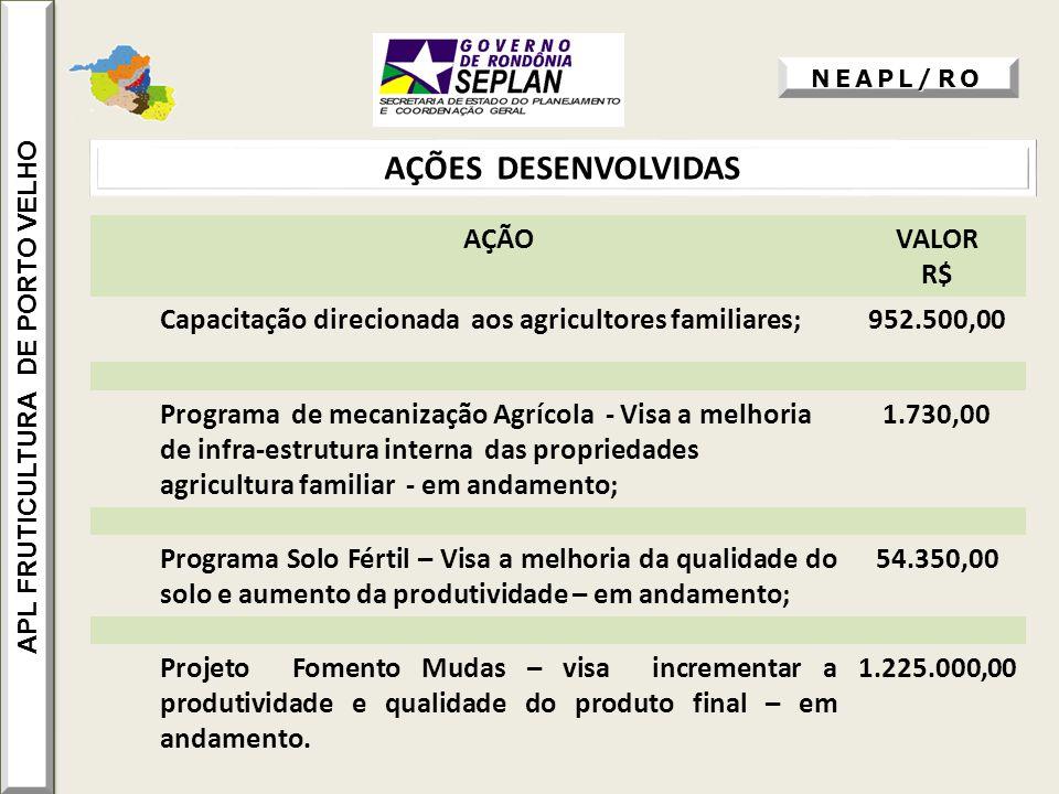 AÇÕES DESENVOLVIDAS APL FRUTICULTURA DE PORTO VELHO NEAPL/RO AÇÃOVALOR R$ Capacitação direcionada aos agricultores familiares;952.500,00 Programa de m