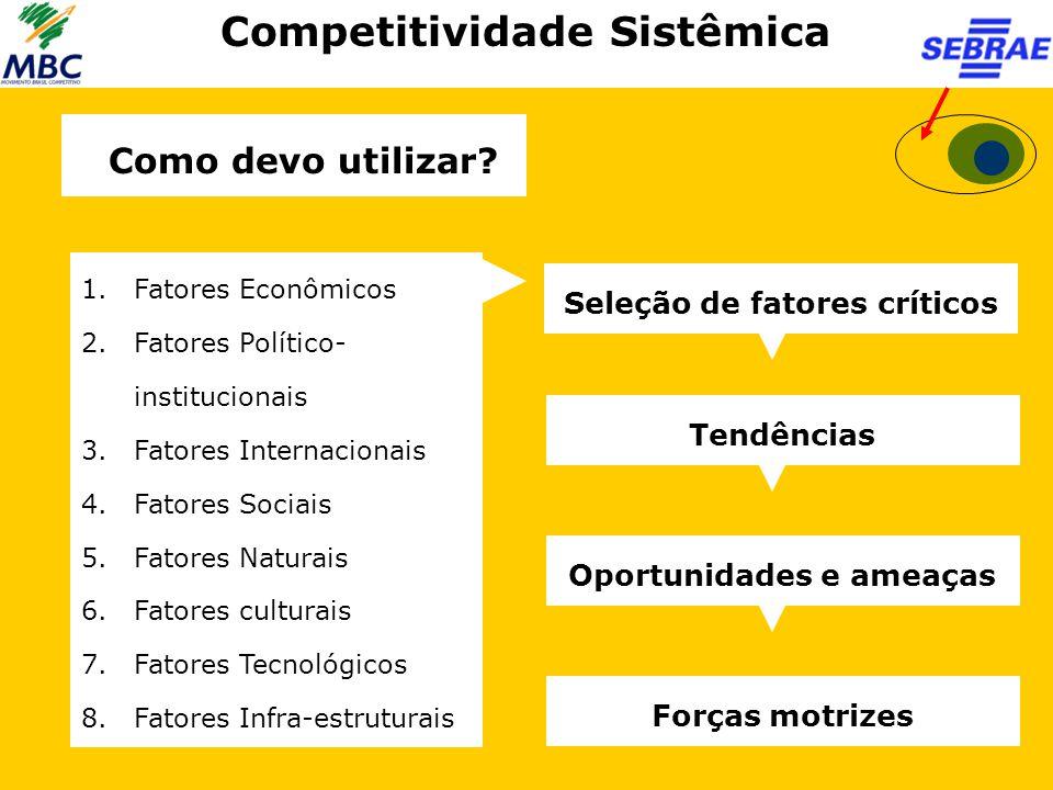 Competitividade Sistêmica 1.Fatores Econômicos 2.Fatores Político- institucionais 3.Fatores Internacionais 4.Fatores Sociais 5.Fatores Naturais 6.Fato
