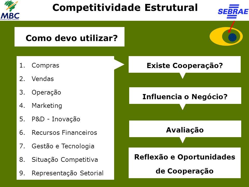 Competitividade Estrutural 1.Compras 2.Vendas 3.Operação 4.Marketing 5.P&D - Inovação 6.Recursos Financeiros 7.Gestão e Tecnologia 8.Situação Competit
