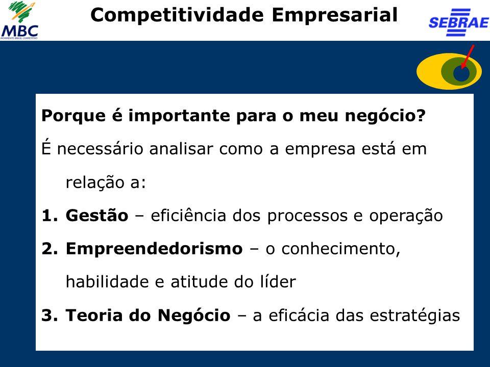 Competitividade Empresarial Porque é importante para o meu negócio? É necessário analisar como a empresa está em relação a: 1.Gestão – eficiência dos