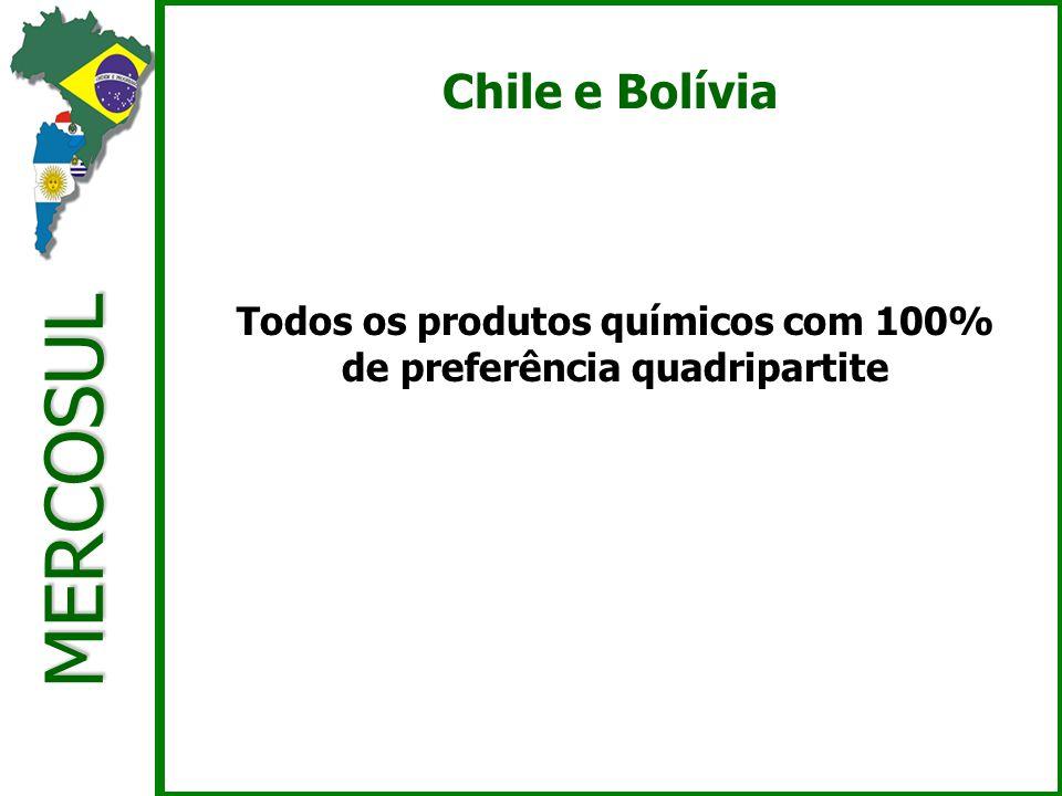 MERCOSUL Chile e Bolívia Todos os produtos químicos com 100% de preferência quadripartite