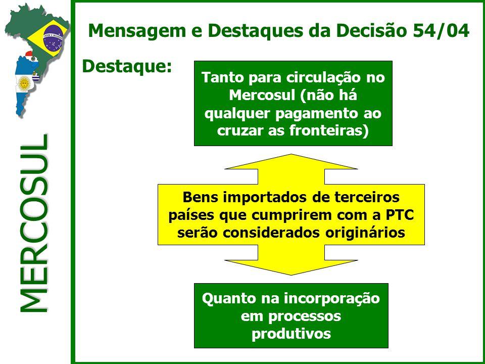 MERCOSUL Mensagem e Destaques da Decisão 54/04 Destaque: Tanto para circulação no Mercosul (não há qualquer pagamento ao cruzar as fronteiras) Quanto na incorporação em processos produtivos Bens importados de terceiros países que cumprirem com a PTC serão considerados originários