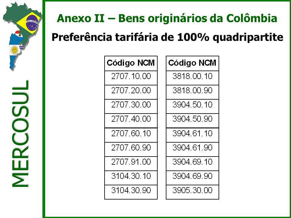MERCOSUL Anexo II – Bens originários da Colômbia Preferência tarifária de 100% quadripartite