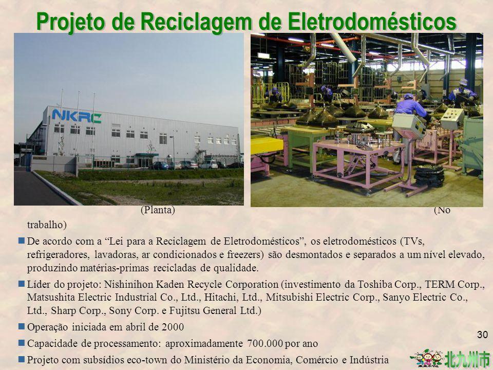 (Planta) (No trabalho) De acordo com a Lei para a Reciclagem de Eletrodomésticos , os eletrodomésticos (TVs, refrigeradores, lavadoras, ar condicionados e freezers) são desmontados e separados a um nível elevado, produzindo matérias-primas recicladas de qualidade.