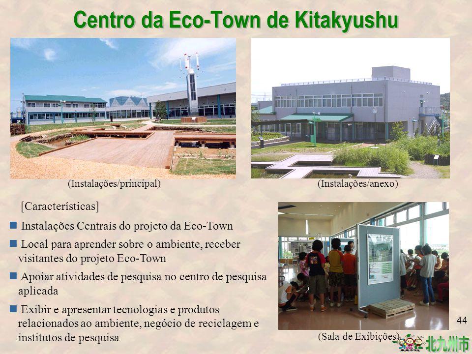 [Características] Instalações Centrais do projeto da Eco-Town Local para aprender sobre o ambiente, receber visitantes do projeto Eco-Town Apoiar atividades de pesquisa no centro de pesquisa aplicada Exibir e apresentar tecnologias e produtos relacionados ao ambiente, negócio de reciclagem e institutos de pesquisa (Instalações/principal) (Sala de Exibições) (Instalações/anexo) Centro da Eco-Town de Kitakyushu 44