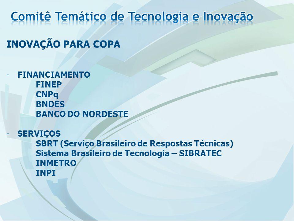 -FINANCIAMENTO FINEP CNPq BNDES BANCO DO NORDESTE -SERVIÇOS SBRT (Serviço Brasileiro de Respostas Técnicas) Sistema Brasileiro de Tecnologia – SIBRATEC INMETRO INPI INOVAÇÃO PARA COPA