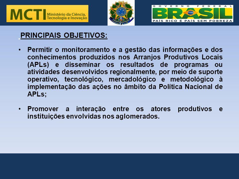 .. PRINCIPAIS OBJETIVOS: Permitir o monitoramento e a gestão das informações e dos conhecimentos produzidos nos Arranjos Produtivos Locais (APLs) e di