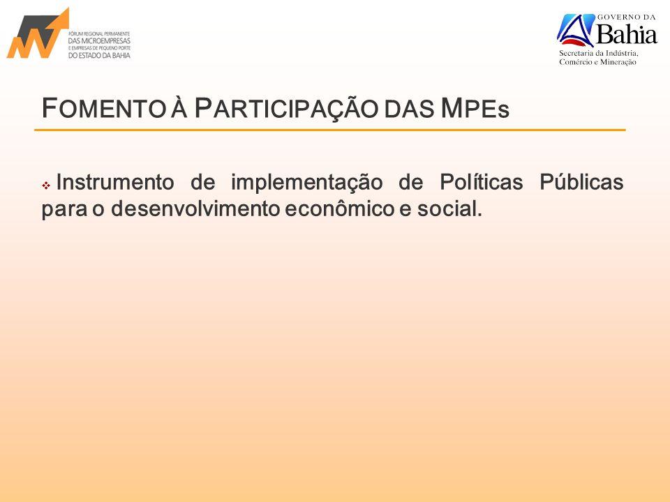 F OMENTO À P ARTICIPAÇÃO DAS M PEs  Instrumento de implementação de Políticas Públicas para o desenvolvimento econômico e social.