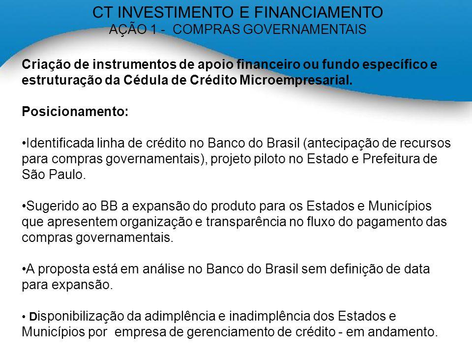 CT INVESTIMENTO E FINANCIAMENTO AÇÃO 1 - COMPRAS GOVERNAMENTAIS Criação de instrumentos de apoio financeiro ou fundo específico e estruturação da Cédula de Crédito Microempresarial.