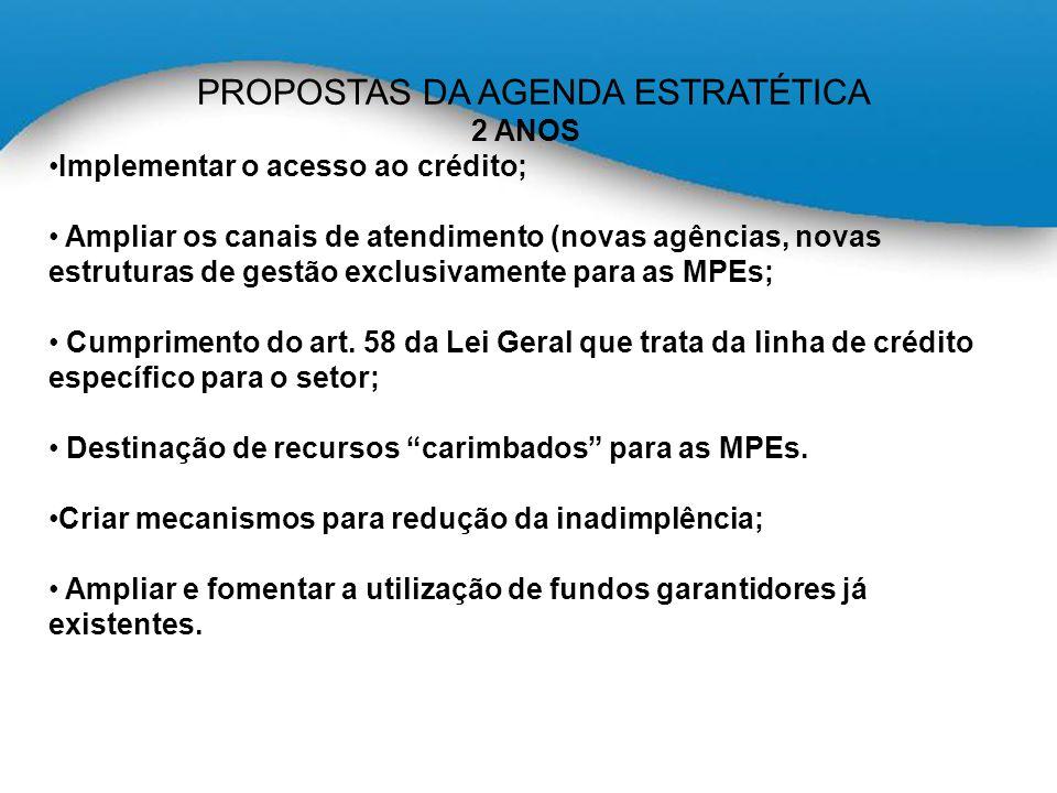 PROPOSTAS DA AGENDA ESTRATÉTICA 2 ANOS Implementar o acesso ao crédito; Ampliar os canais de atendimento (novas agências, novas estruturas de gestão exclusivamente para as MPEs; Cumprimento do art.