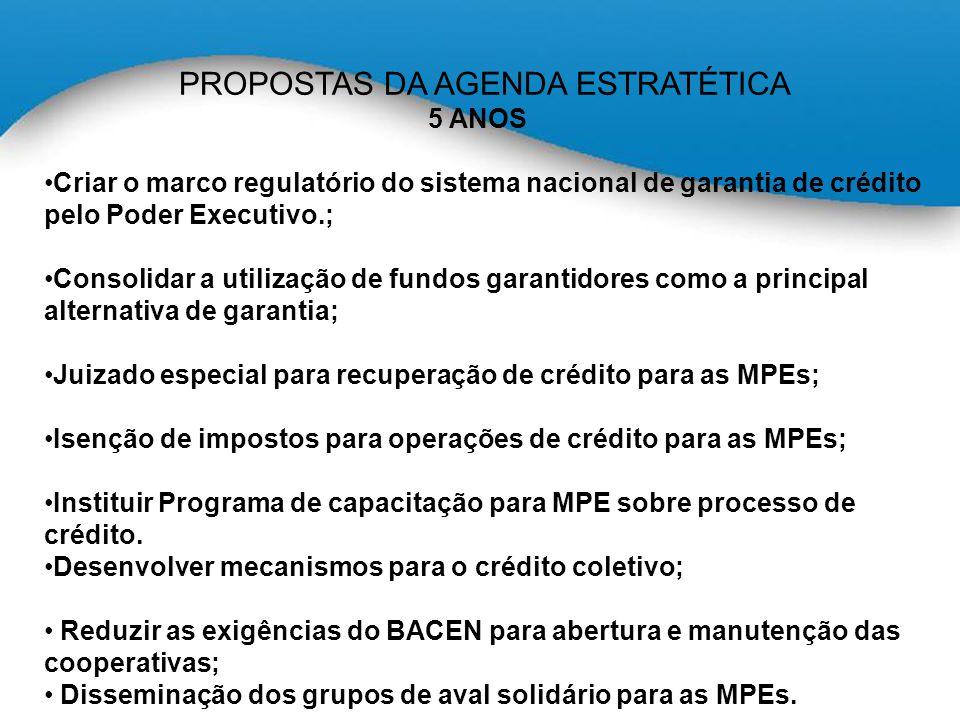 PROPOSTAS DA AGENDA ESTRATÉTICA 5 ANOS Criar o marco regulatório do sistema nacional de garantia de crédito pelo Poder Executivo.; Consolidar a utilização de fundos garantidores como a principal alternativa de garantia; Juizado especial para recuperação de crédito para as MPEs; Isenção de impostos para operações de crédito para as MPEs; Instituir Programa de capacitação para MPE sobre processo de crédito.