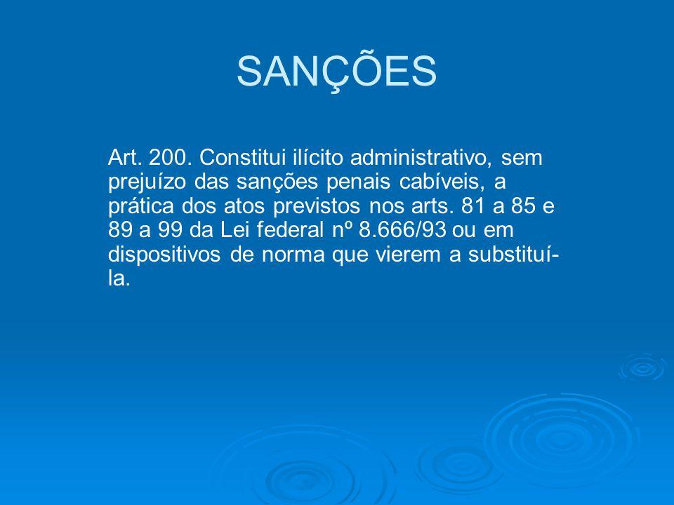 SANÇÕES Art. 200. Constitui ilícito administrativo, sem prejuízo das sanções penais cabíveis, a prática dos atos previstos nos arts. 81 a 85 e 89 a 99