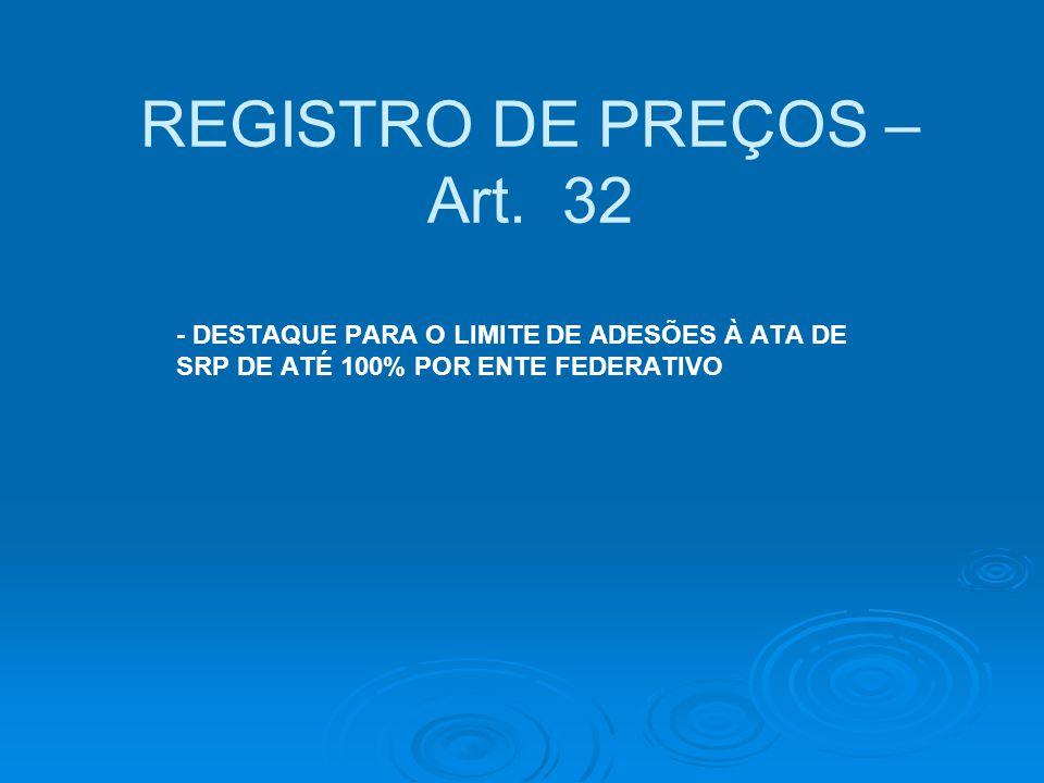 REGISTRO DE PREÇOS – Art. 32 - DESTAQUE PARA O LIMITE DE ADESÕES À ATA DE SRP DE ATÉ 100% POR ENTE FEDERATIVO