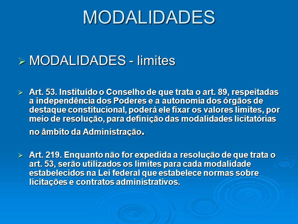 MODALIDADES   I – concorrência;   II – tomada de preços;   III – convite;   IV – pregão;   V – concurso;   VI – leilão.