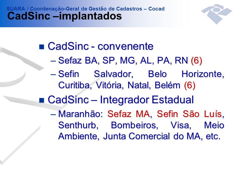n CadSinc - convenente –Sefaz BA, SP, MG, AL, PA, RN (6) –Sefin Salvador, Belo Horizonte, Curitiba, Vitória, Natal, Belém (6) n CadSinc – Integrador E