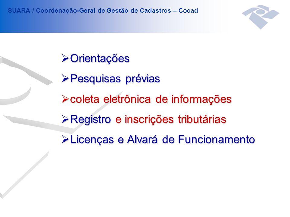  Orientações  Pesquisas prévias  coleta eletrônica de informações  Registro e inscrições tributárias  Licenças e Alvará de Funcionamento SUARA / Coordenação-Geral de Gestão de Cadastros – Cocad
