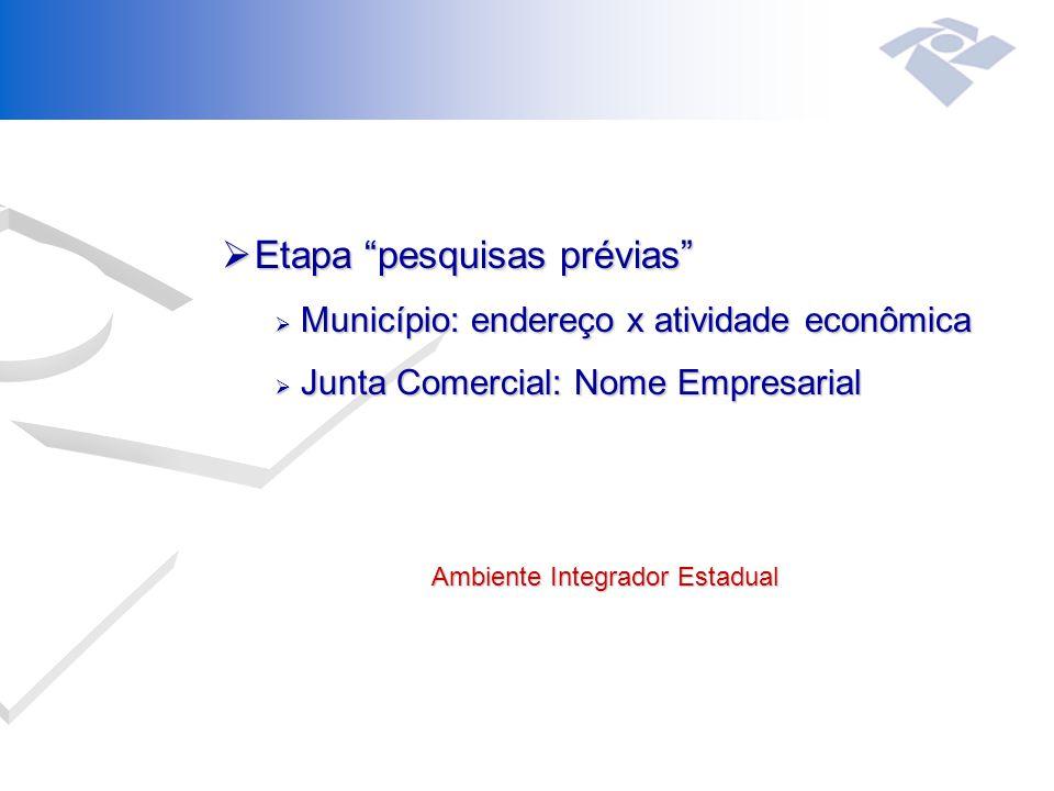  Etapa pesquisas prévias  Município: endereço x atividade econômica  Junta Comercial: Nome Empresarial Ambiente Integrador Estadual Ambiente Integrador Estadual