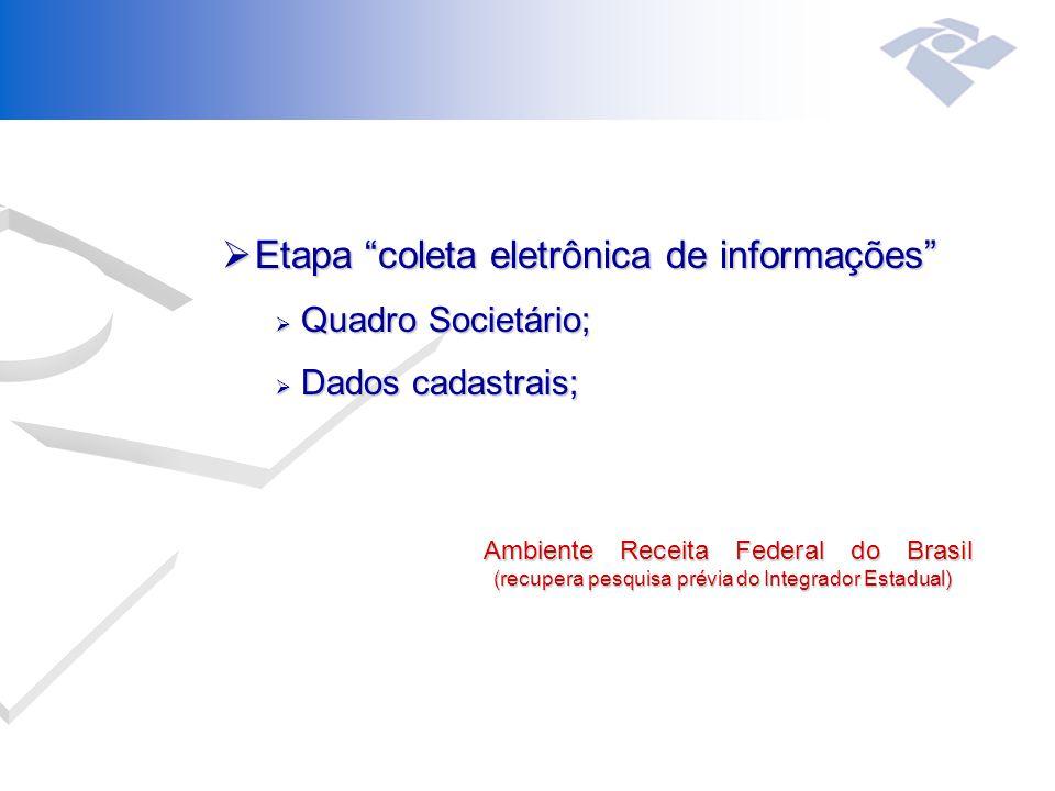  Etapa coleta eletrônica de informações  Quadro Societário;  Dados cadastrais; Ambiente Receita Federal do Brasil (recupera pesquisa prévia do Integrador Estadual) Ambiente Receita Federal do Brasil (recupera pesquisa prévia do Integrador Estadual)