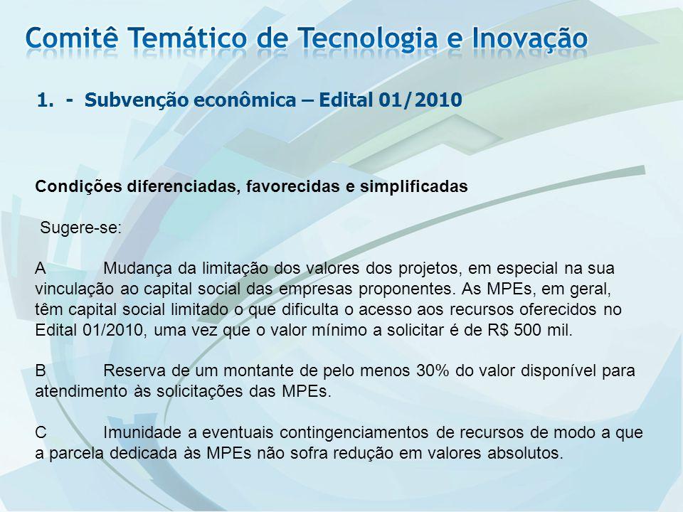 1. - Subvenção econômica – Edital 01/2010 Condições diferenciadas, favorecidas e simplificadas Sugere-se: AMudança da limitação dos valores dos projet