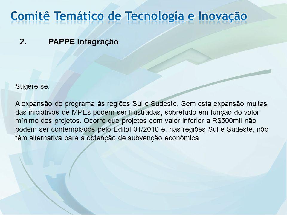 2.PAPPE Integração Sugere-se: A expansão do programa às regiões Sul e Sudeste.