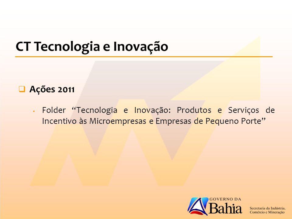  Ações 2011  Folder Tecnologia e Inovação: Produtos e Serviços de Incentivo às Microempresas e Empresas de Pequeno Porte CT Tecnologia e Inovação