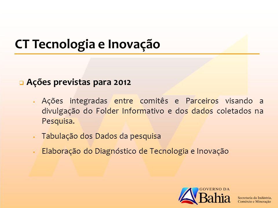  Ações previstas para 2012  Ações integradas entre comitês e Parceiros visando a divulgação do Folder Informativo e dos dados coletados na Pesquisa.