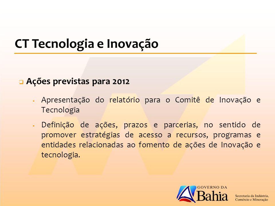  Ações previstas para 2012  Apresentação do relatório para o Comitê de Inovação e Tecnologia  Definição de ações, prazos e parcerias, no sentido de promover estratégias de acesso a recursos, programas e entidades relacionadas ao fomento de ações de Inovação e tecnologia.