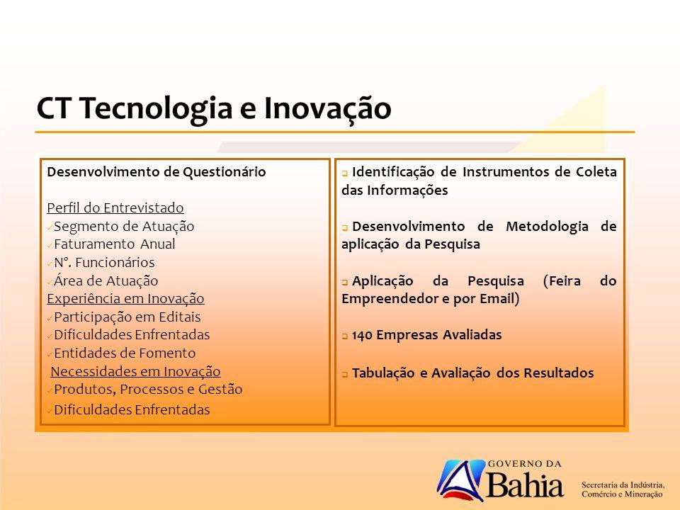 CT Tecnologia e Inovação Desenvolvimento de Questionário Perfil do Entrevistado Segmento de Atuação Faturamento Anual Nº.