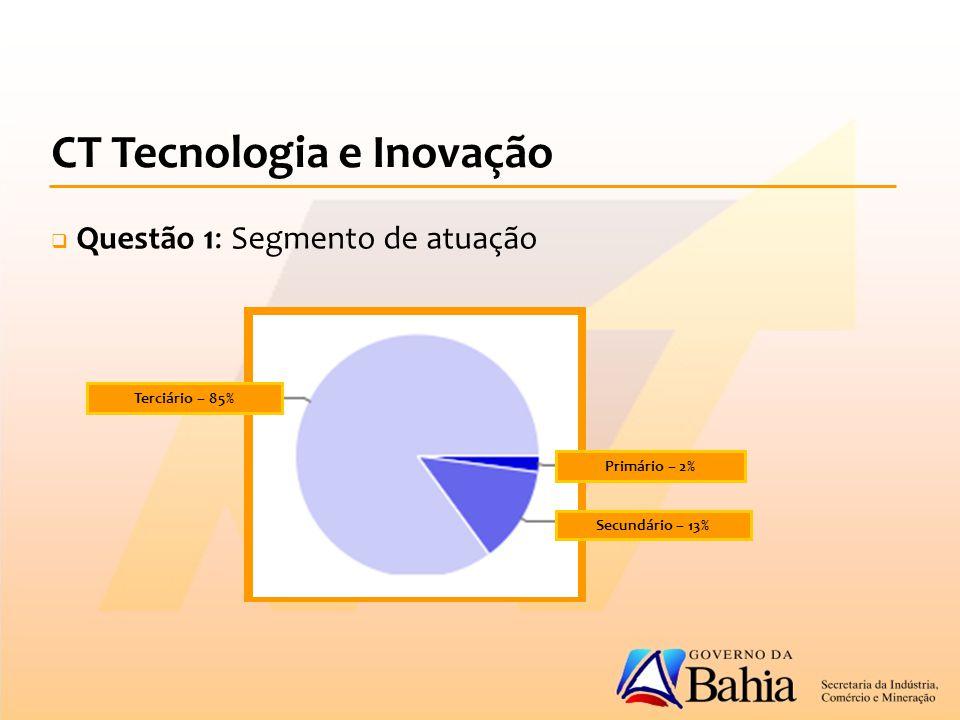 Primário – 2% Secundário – 13% Terciário – 85% CT Tecnologia e Inovação  Questão 1: Segmento de atuação
