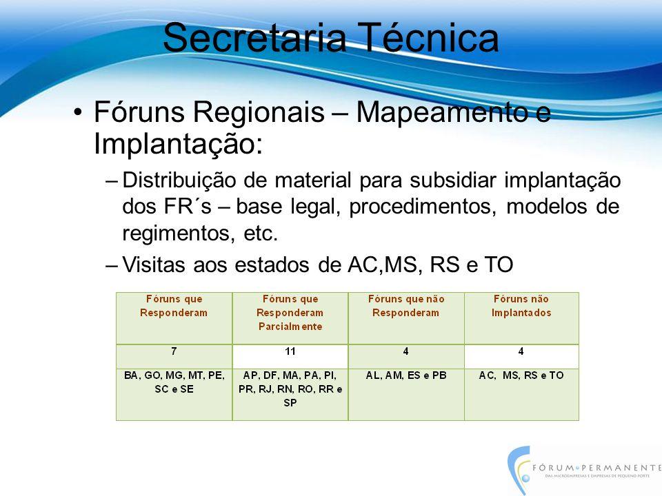 Fóruns Regionais – Mapeamento e Implantação: –Distribuição de material para subsidiar implantação dos FR´s – base legal, procedimentos, modelos de regimentos, etc.