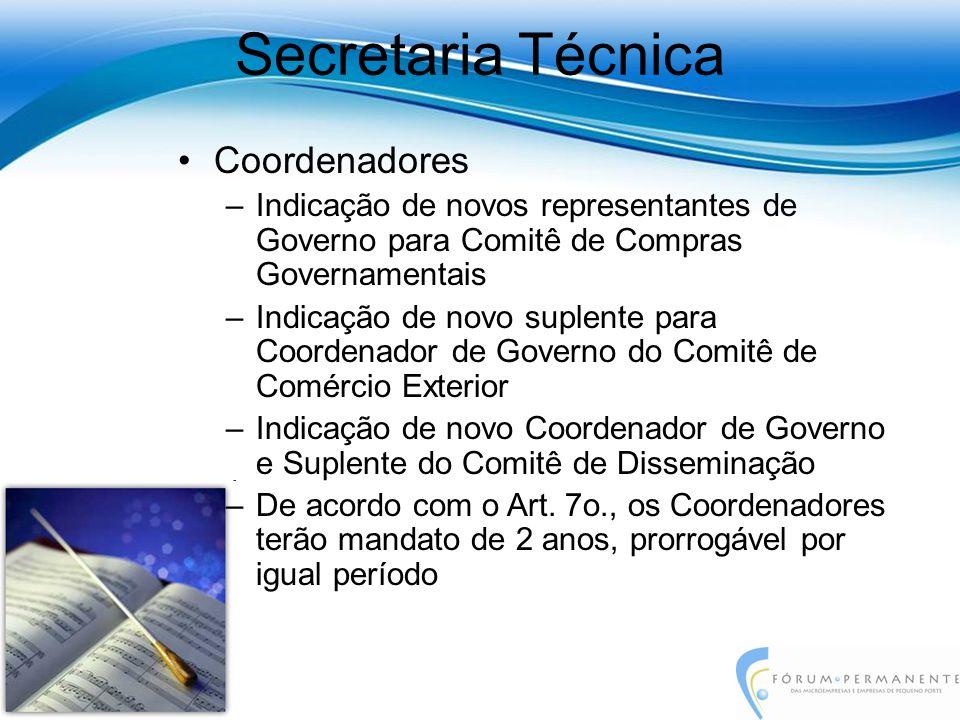 Coordenadores –Indicação de novos representantes de Governo para Comitê de Compras Governamentais –Indicação de novo suplente para Coordenador de Gove
