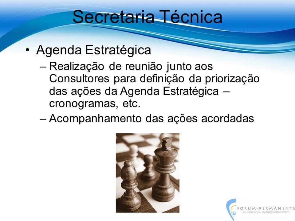 Agenda Estratégica –Realização de reunião junto aos Consultores para definição da priorização das ações da Agenda Estratégica – cronogramas, etc. –Aco