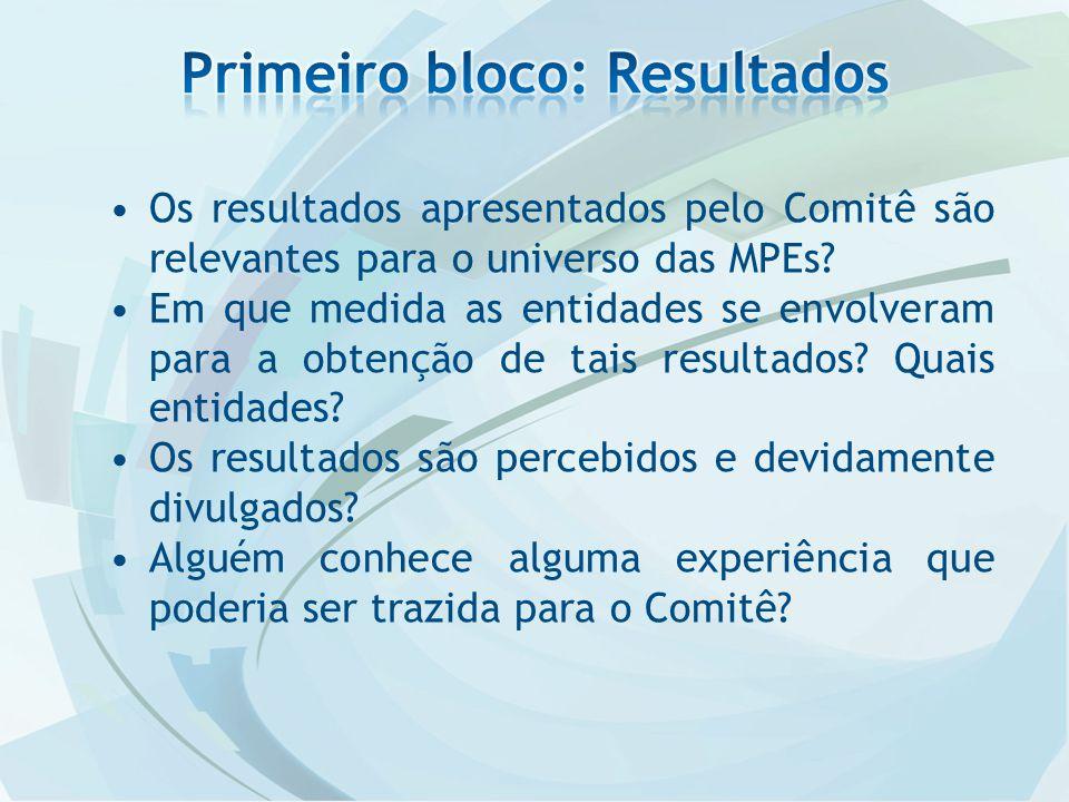 Os resultados apresentados pelo Comitê são relevantes para o universo das MPEs.