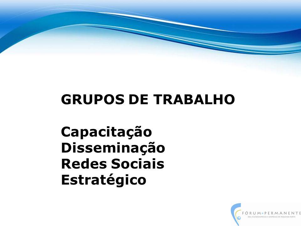 GRUPOS DE TRABALHO Capacitação Disseminação Redes Sociais Estratégico