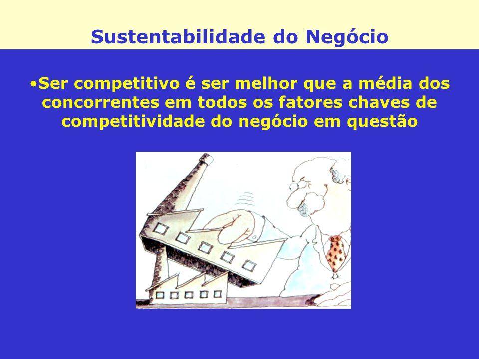 Sustentabilidade do Negócio Ser competitivo é ser melhor que a média dos concorrentes em todos os fatores chaves de competitividade do negócio em ques