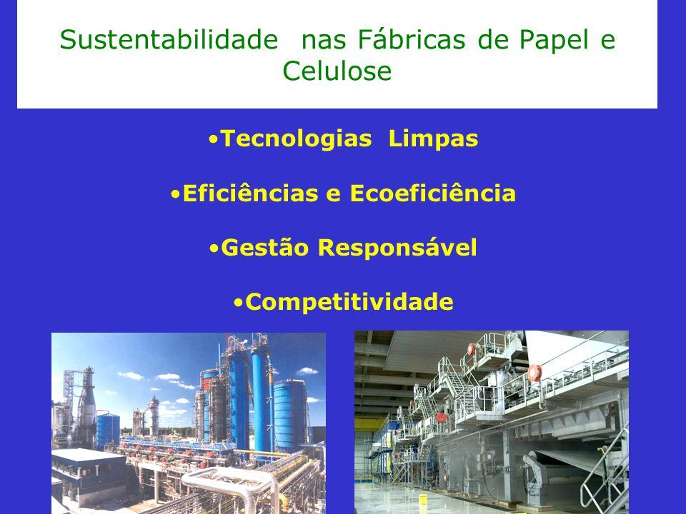 Sustentabilidade nas Fábricas de Papel e Celulose Tecnologias Limpas Eficiências e Ecoeficiência Gestão Responsável Competitividade