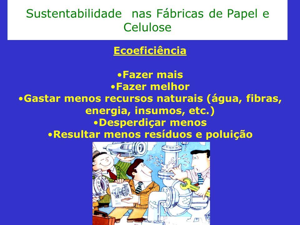 Sustentabilidade nas Fábricas de Papel e Celulose Ecoeficiência Fazer mais Fazer melhor Gastar menos recursos naturais (água, fibras, energia, insumos