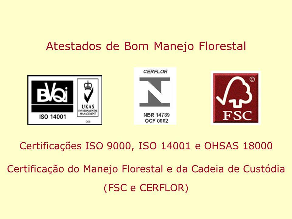 Atestados de Bom Manejo Florestal Certificações ISO 9000, ISO 14001 e OHSAS 18000 Certificação do Manejo Florestal e da Cadeia de Custódia (FSC e CERF