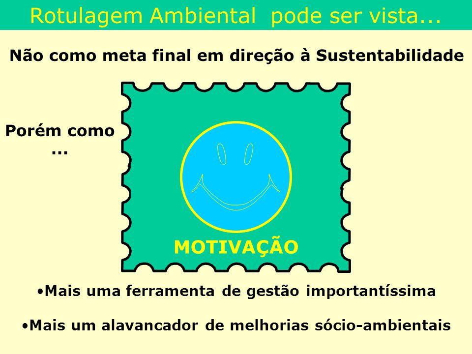 Rotulagem Ambiental pode ser vista... Não como meta final em direção à Sustentabilidade Mais uma ferramenta de gestão importantíssima Mais um alavanca
