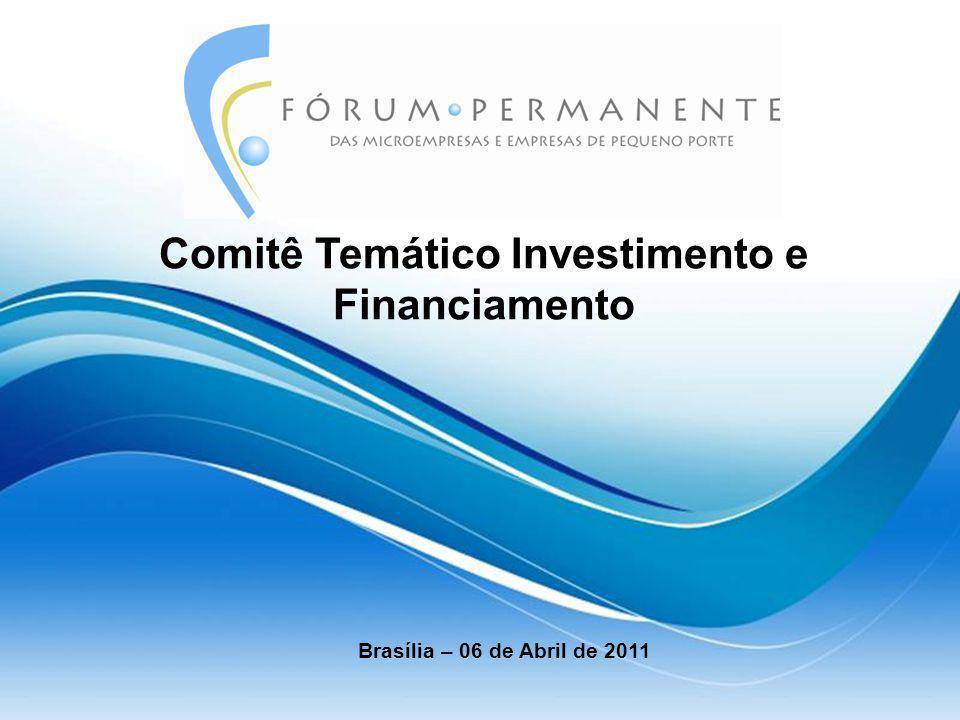 Objetivo do Comitê  Articular soluções e propor políticas e ações que ampliem o acesso a Investimento e Financiamento com redução dos custos dos serviços financeiros às MPEs;  Articular soluções para promover a regulamentação necessária ao cumprimento dos aspectos relacionados a Investimento e Financiamento do Estatuto Nacional da Microempresa e da Empresa de Pequeno Porte, bem como acompanhar a sua efetiva implantação;  Apoiar os Comitês Temáticos de Investimento de Financiamento dos Fóruns Regionais.