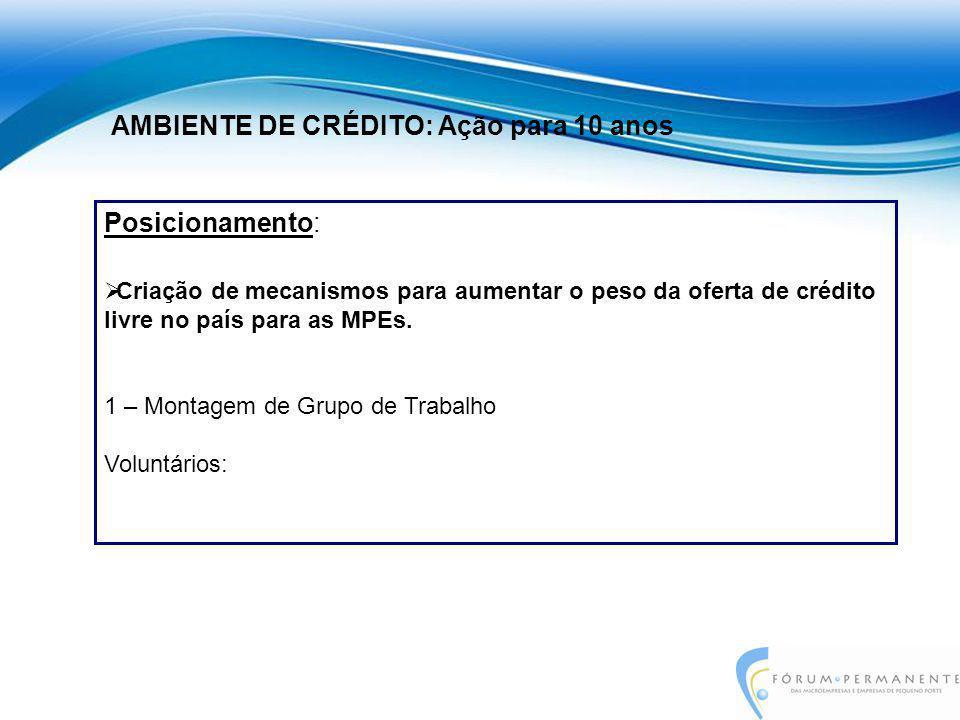Posicionamento:  Criação de mecanismos para aumentar o peso da oferta de crédito livre no país para as MPEs. 1 – Montagem de Grupo de Trabalho Volunt
