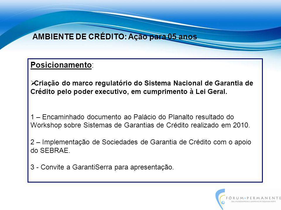 Posicionamento:  Criação do marco regulatório do Sistema Nacional de Garantia de Crédito pelo poder executivo, em cumprimento à Lei Geral. 1 – Encami