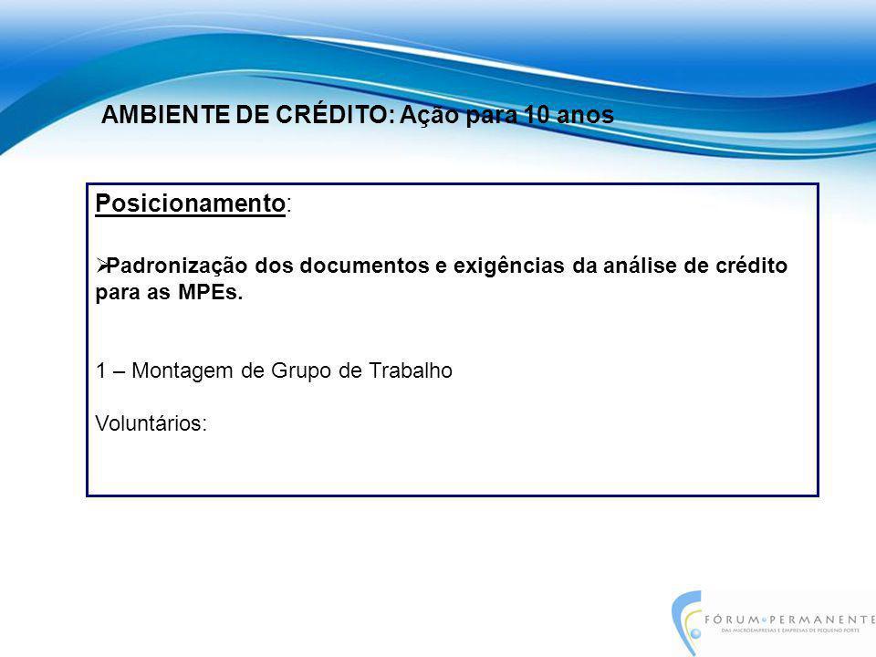 Posicionamento:  Padronização dos documentos e exigências da análise de crédito para as MPEs. 1 – Montagem de Grupo de Trabalho Voluntários: AMBIENTE